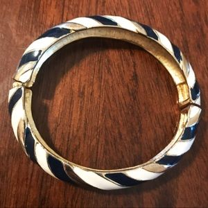 Navy and White Striped Bangle